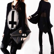 Personality Irregular Chiffon Stitching Long-sleeved T-shirt