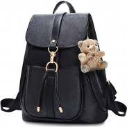 Fashion PU Draw String Black Metal Button Backpack Gift Bear Doll  Leisure Shopping Backpack