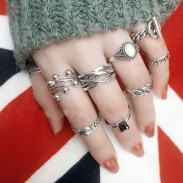 Retro Rhinestone Knuckle Plain Thai Silver Open Ring