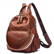 Fashion PU Large Leather Multi-function Shoulder Bag School Backpack