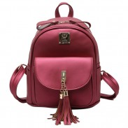 Simple Front Flap Pocket School Backpack Tassels Elegant Bag Student Backpacks