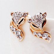 Fashion Lovely Golden Fox Rhinestones Earrings