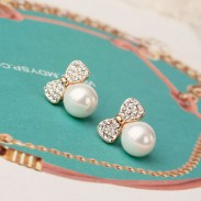 Pearl Bow 925 Sterling Silver Studs Earrings