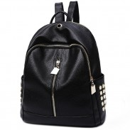 Leisure Black PU Lichee Pattern Punk Rivet Zipper School Headphone Hole College Backpack