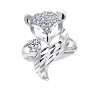 Cute Silver Fox Open Animal Diamond Women Ring
