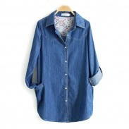 Leisure Denim Long Sleeve Shirt Lapel Double Pockets Loose Female Top