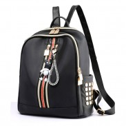 Leisure Double Vertical Stripe Black Nylon School Backpack