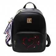 Leisure Heart Hollow Rose Black PU Student Bag College Bag School Backpack