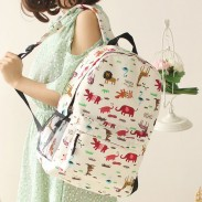 Fresh Sweet Graffiti Bicycle Animal Cat Canvas Backpack