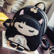 Lovely PU Splicing Cartoon Close Eyes Girl Black Leisure Student Bag College Backpacks