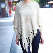 New Autumn Leisure Hollow Tassel Irregular Cloak Hedging Cape Sweater