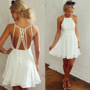 Sweet Girl's White Sleeveless Back Cross Straps Backless Ruffles Chiffon Summer Dresses Party Evening Cocktail Dress