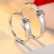 Sweet Heart-shaped Knot 925 Silver Lettering Couple Rings
