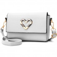 Fashion Square PU Metal Love Heart Flap Lady Small Shoulder Bag