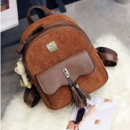 Retro Brown Tassel Suede Flounce School Lady Student Backpack
