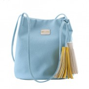 Fresh Leisure Simple Solid Tassel Bucket Bag Shoulder Bag Messenger Bag