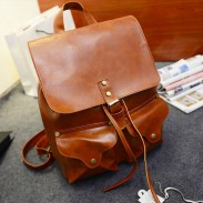 Retro College Buckle Leather Schoolbag Backpack