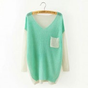 Casual Splice Mixed Color V-neck Raglan Dolman Sleeve Irregular Hem Sweater
