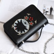 Fashion Mini Cartoon Metal Chain Embroidered Shoulder Bag