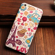 Eiffel Tower City Bus Colorful Relief Silicone Soft Cases For Iphone 5/5S/6/6S