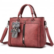 Retro Solid Color Zipper Shoulder Messenger Bag Bear Handbag
