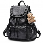 Leisure Weave Black PU Rucksack Bear Doll Travel College Backpack