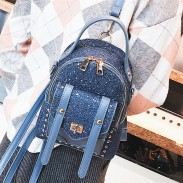Unique Blue Shining Sequins Rivet Bag Ladies Small Backpack