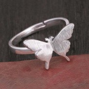 Cute Animal Ring Frosted Brushed Vivid Butterfly Silver Open Ring