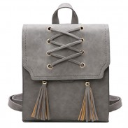 Retro Tassels Flap Square Weave Gray Leisure Girl's Cross Bandage Travel Backpack
