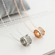 Rose Gold Ring Diamond Pendant Short Chain Women Necklace