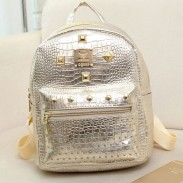 Crocodile Pattern Rivet Solid Leisure Backpacks