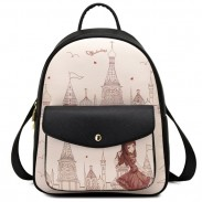 Fresh Girl's PU Cartoon Travel Backpack Church Tower Girl Printing College Backpack