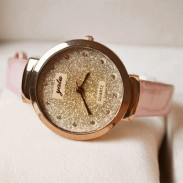 Dazzling Gold Rhinestone Leather Strap Quartz Watch