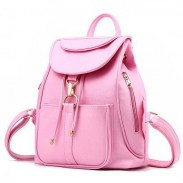 Sweet Pink Black Travel Backpack Side Zipper High School Backpack