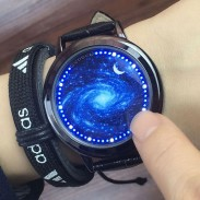 Unique LED Light Touch-screen Control Dial Romantic Starry Sky Captain America Iron Man Couple Watch