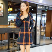 Fashion Long Lattice Overcoat Hoodie Warm Women Lace Sleeve Sweater Tops Coat