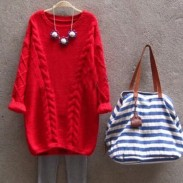 Loosen Retro Twist Round Neck Sweater Solid Color Knit Sweater