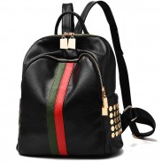 Punk Black PU Green Red Vertical Stripes Bag Frosted Oxford Rivet Backpacks