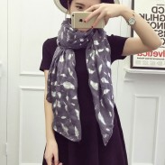 Retro Feather Printed Voile Infinity Scarf