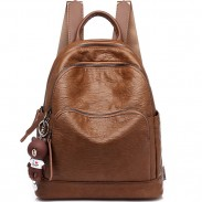 Retro Three Zippers College Bag British Style Leisure Brown School Backpack