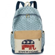 Unique Cute Elephant Laptop Bag Star Dot School Girl's Canvas Backpack