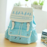 Fresh Lovely Bird Printing Dot College Backpack