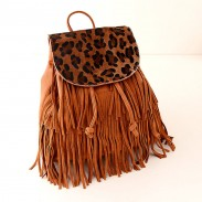 Leopard Horsehair Tassels Leather Travel Shoulders Bag
