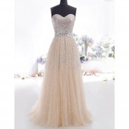 Elegant Formal Long Evening Dress Party Prom Bridesmaid Maxi Dress Women's Chiffon Sequins Tee Dress