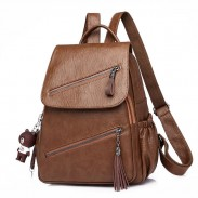 Retro Double Oblique Zipper PU Campus British Style Tassel School Backpack