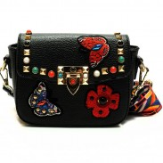 Cute PU Butterfly Flower Girl's Embroidery Rivets Flap Mini Shoulder Bag