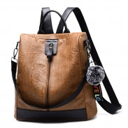 Retro Vertical Zipper Multi-function Handbag Travel Bag Brown Leather School Backpack