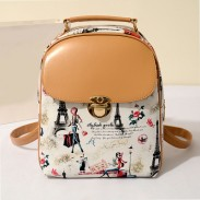 College Casual Floral Lovely Bear Eiffel Tower Pattern School Travel Backpack