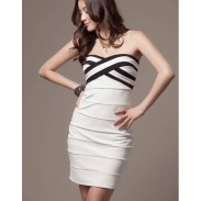 Cross-striped Black And White Mixed Colors Slim Sexy Dress