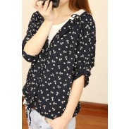 College Style Lace Anchor Chock Hooded Cardigan Jacket